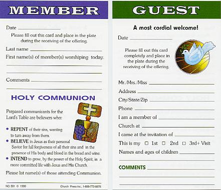 church attendance cards church press inc